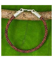braided leather bracelet, 'elephant promise in brown' (thailand)