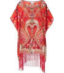 camilla floral-print silk kaftan dress - red