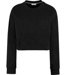 fendi cotton crew-neck sweatshirt with logo