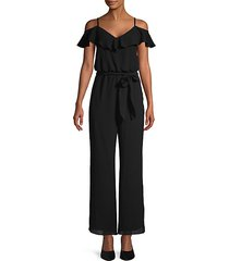 ruffled cold-shoulder jumpsuit