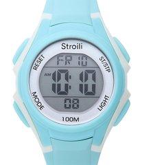 orologio multifunzione con cinturino in silicone azzurro cassa in acciaio per donna
