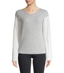 vince women's colorblock sweater - black cherry - size l