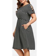 plus size criss cross sleeve striped a line dress
