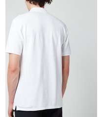maison kitsuné men's fox head patch classic polo shirt - white - m