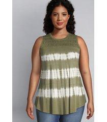 lane bryant women's shirred-yoke swing tunic 26/28 tie-dye