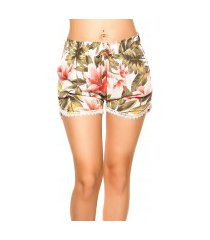 sexy zomer shorts met kant & print wit