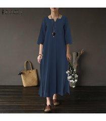zanzea mujeres más informal camisa de manga larga sólido señoras vestido flojo retro kaftan -azul marino