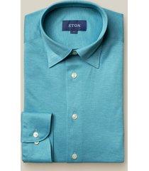 eton heren overhemd turquoise pique hidden button down slim fit