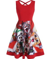cat graphic criss cross christmas flare dress