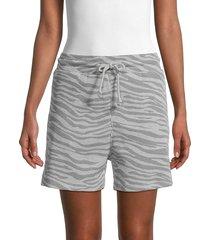 rd style women's tiger-print drawstring shorts - grey tiger - size l