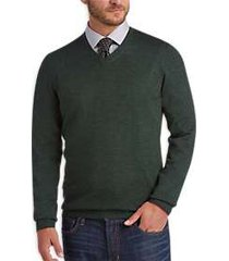 joseph abboud dark green v-neck merino wool sweater
