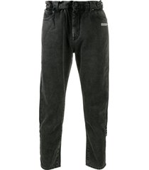off-white slim-fit belted jeans - grey