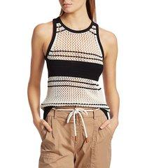 frame women's open knit striped tank - off white multi - size s