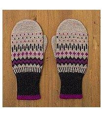 100% alpaca wool mittens, 'miski inca' (peru)