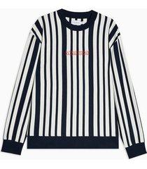 mens multi navy stripe embroidered sweatshirt
