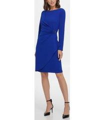 dkny long sleeve pleated d-buckle sheath dress