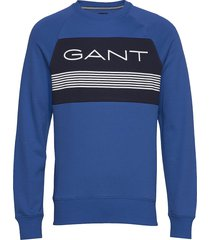 d1. gant stripe c-neck sweat sweat-shirt tröja blå gant
