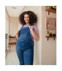 macacão jeans liso com bolsos curve & plus size | ashua curve e plus size | azul | 48