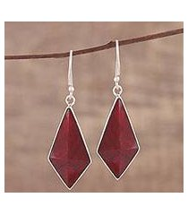 ruby dangle earrings, 'crimson kite' (india)