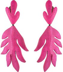 acacia wood pink leaf clip earrings, women's, josie natori