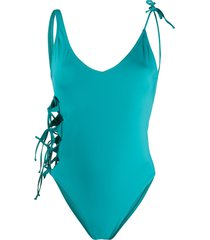 sian swimwear sianita lace-up swimsuit - blue