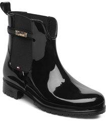 block branding rainboot shoes chelsea boots svart tommy hilfiger
