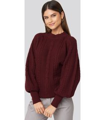 na-kd balloon sleeve cable knitted sweater - red