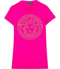 young versace fuchsia dress with frontal logo