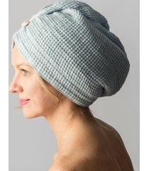 100% natural waffle weave linen sauna bath hair towel turban light blue  new