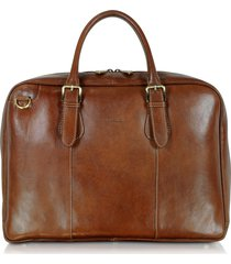 chiarugi designer briefcases, brown double handle leather briefcase