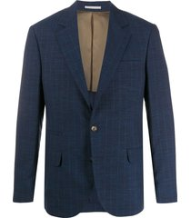 brunello cucinelli long sleeve button down blazer - blue