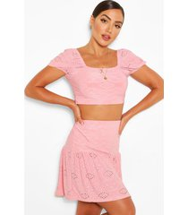 broderie anglaise gypsy top & skirt co-ord, blush