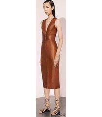 women celeb style haute couture premium cocktail party women leather dress-gn74