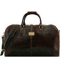 tuscany leather tl141538 antigua - borsone da viaggio/porta abiti in pelle testa di moro