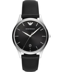 emporio armani men's black leather strap watch 41mm