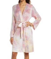 women's masongrey classic short robe, size small - pink