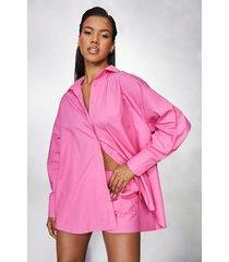 super oversized overhemd en boxer shorts set, pink