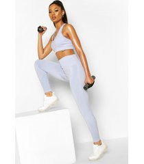 fit woman naadloze leggings met corrigerende taille band, blauw