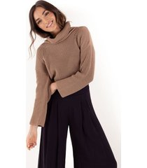 suéter tejido para mujer café manga larga con cuello vuelto