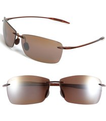 maui jim lighthouse 65mm polarizedplus2(r) rimless sunglasses in rootbeer at nordstrom