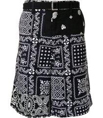 sacai bandana-print cargo shorts - black