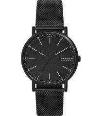 skagen men's signatur black stainless steel mesh bracelet watch 40mm