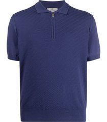canali zip-up short-sleeved polo shirt - blue