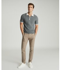 reiss andrew - textured zip neck polo shirt in sage, mens, size xxl