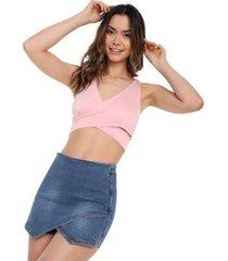 blusa sin mangas cruzada rosa mítica