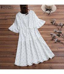 zanzea gradas del verano de las mujeres del lunar de vestido de tirantes retro más el tamaño de vestido calientes -blanco