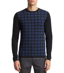 collection wool distressed plaid sweater