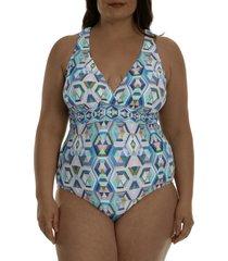 la blanca riviera cross back one-piece swimsuit, size 20w in multi at nordstrom