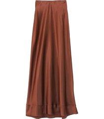 stella satin skirt in chocolate