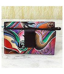 leather wallet, 'fantasy blossom' (india)